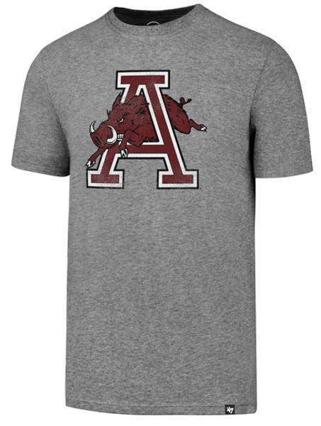 Arkansas Razorbacks '47 Brand Vintage Hog Thru A Short Sleeve Tee- Slate Grey