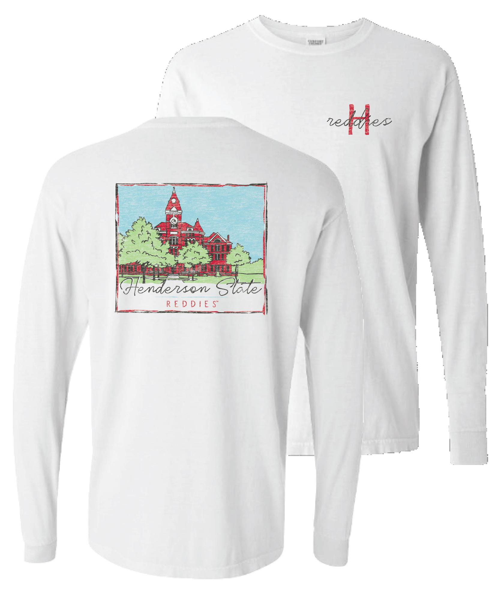 image of: Henderson State Reddies Old Main Comfort Colors Long Sleeve T-Shirt