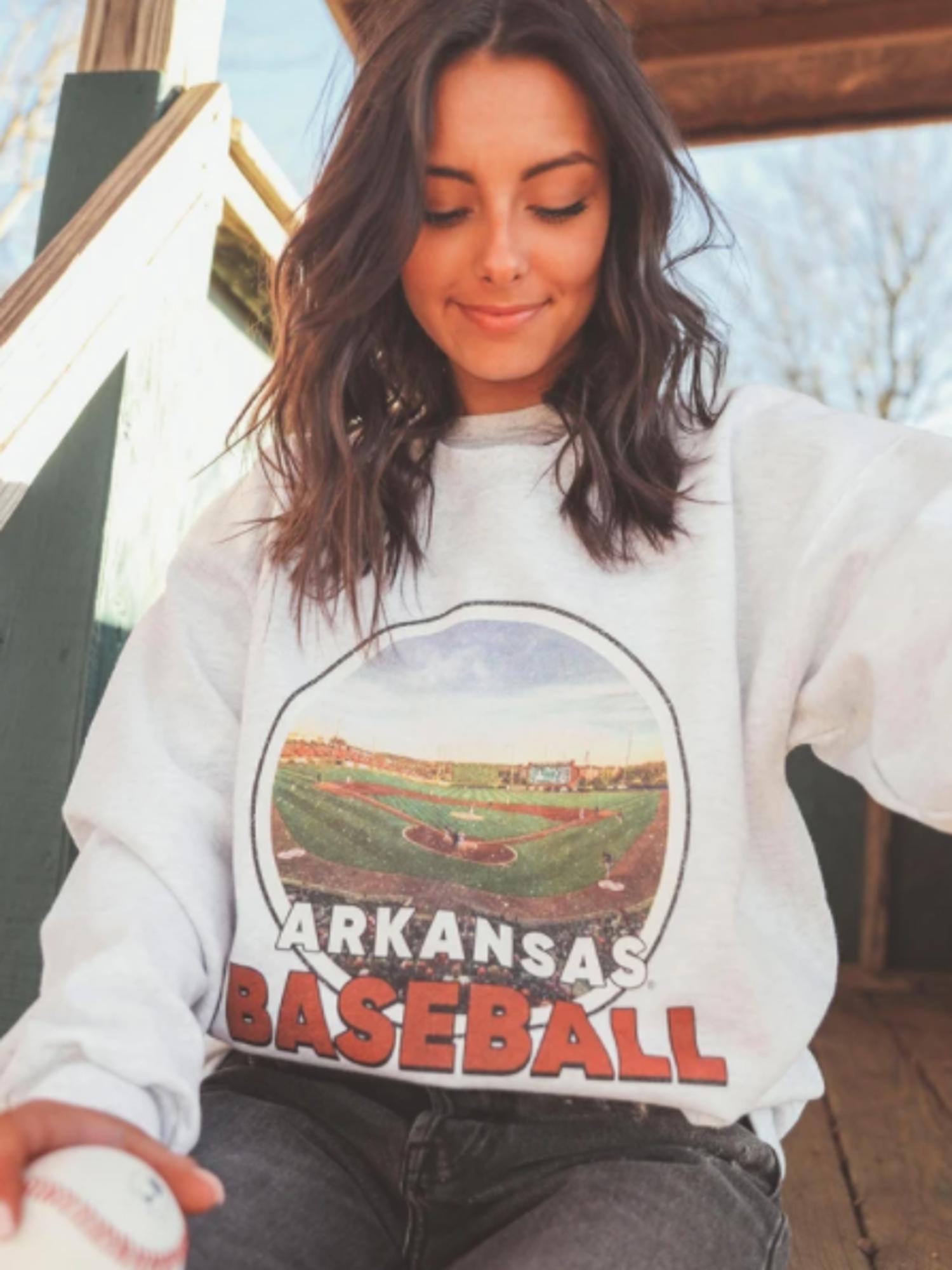 image of: Arkansas Razorbacks Women's Baseball Baum Vintage Sweatshirt