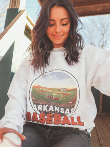 Arkansas Razorbacks Women's Baseball Baum Vintage Sweatshirt