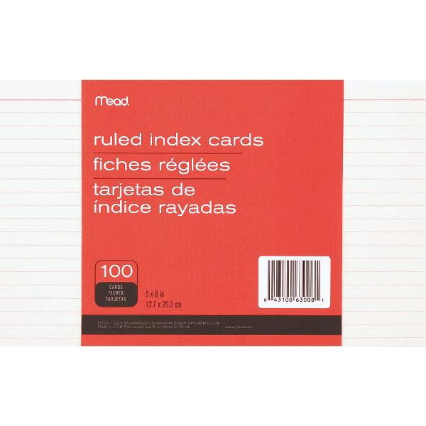 Mead Ruled Index Cards 5x8