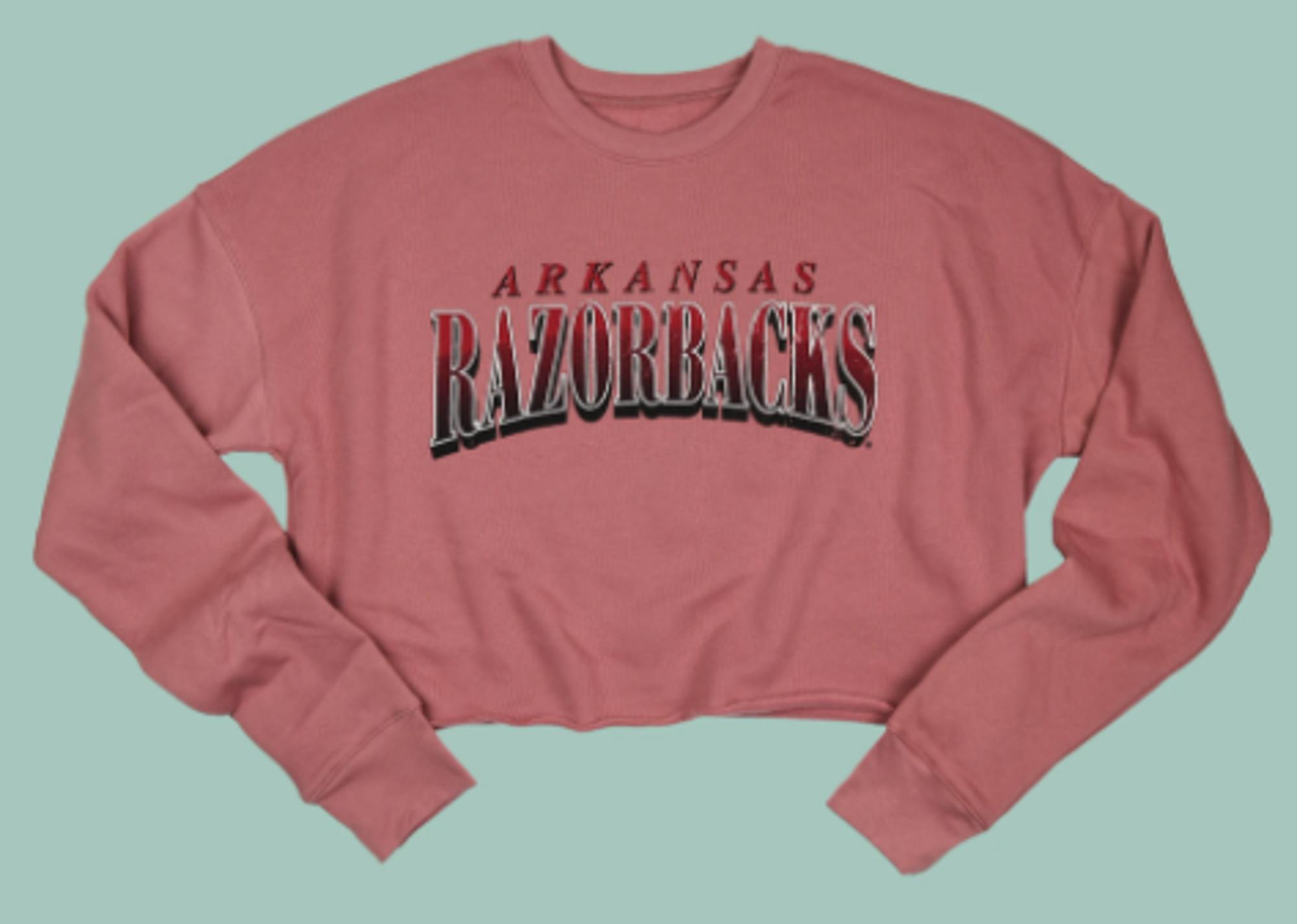 image of: Arkansas Razorbacks Women's Distressed Collegiate Crop Sweatshirt
