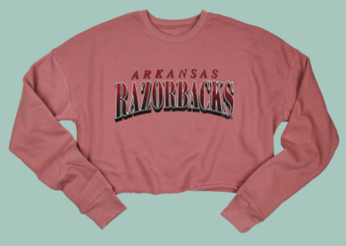 Arkansas Razorbacks Women's Distressed Collegiate Crop Sweatshirt