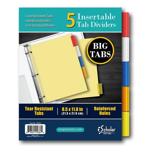 iScholar Insert-able Paper Tab Dividers