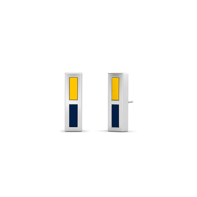 Detailed image of Enamel Stud Earrings in Blue and Yellow