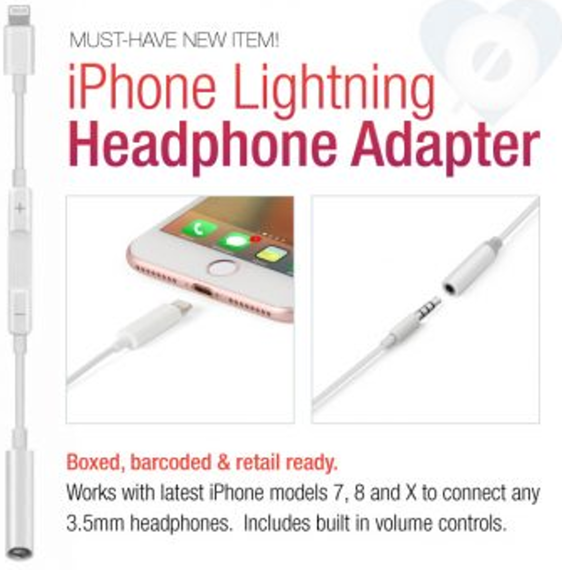 image of: Lightning Compatible Headphone Adapter