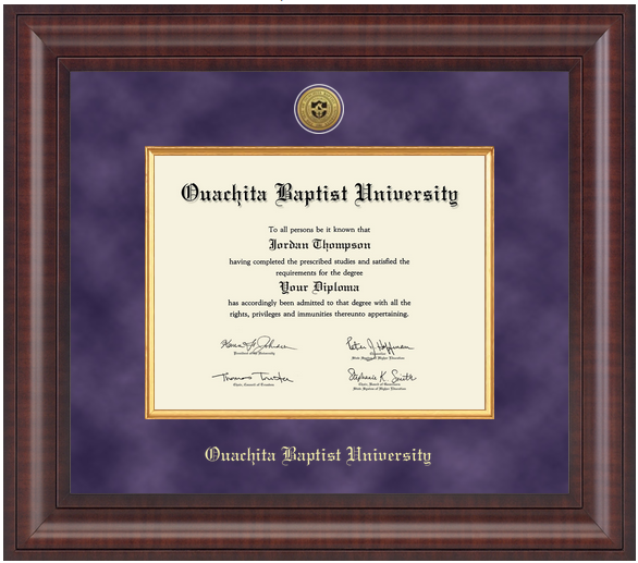 image of: Presidential Gold Engraved Diploma Frame in Premier with Purple Suede & Gold Fillet Mats