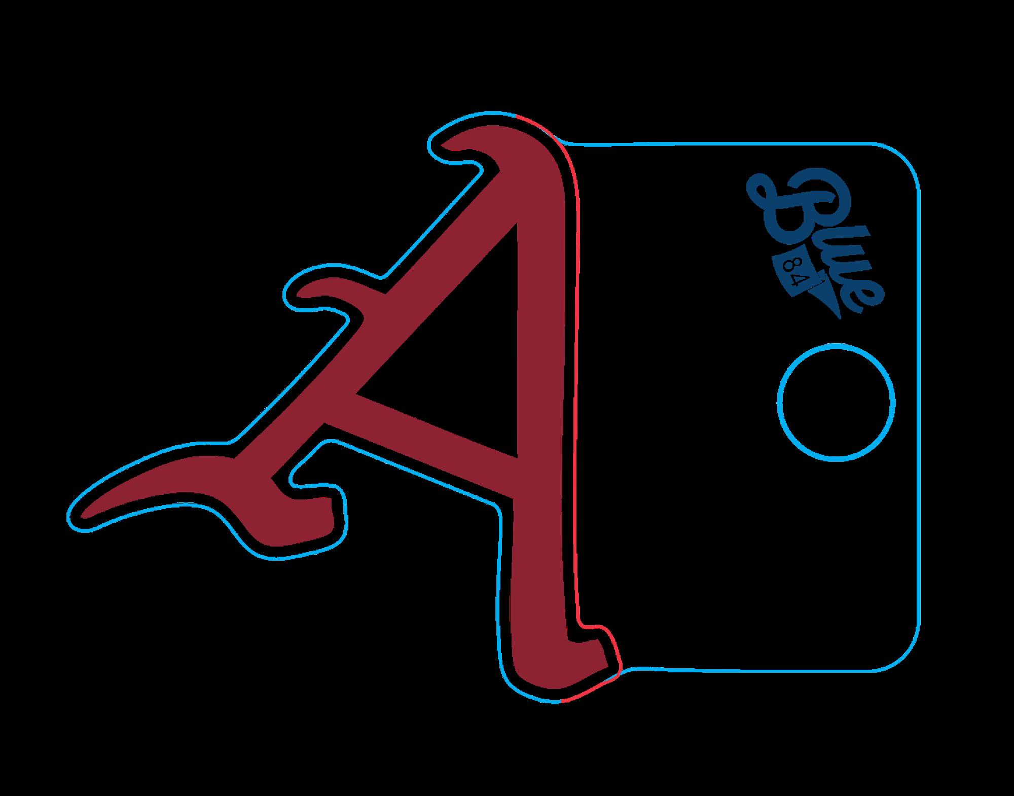 image of: Arkansas Razorback Blue 84 Baseball 'A' Sticker