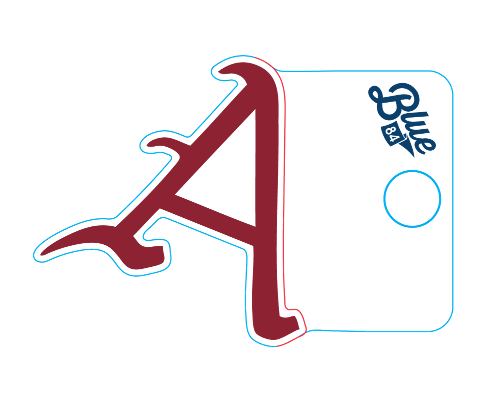 Arkansas Razorback Blue 84 Baseball 'A' Sticker