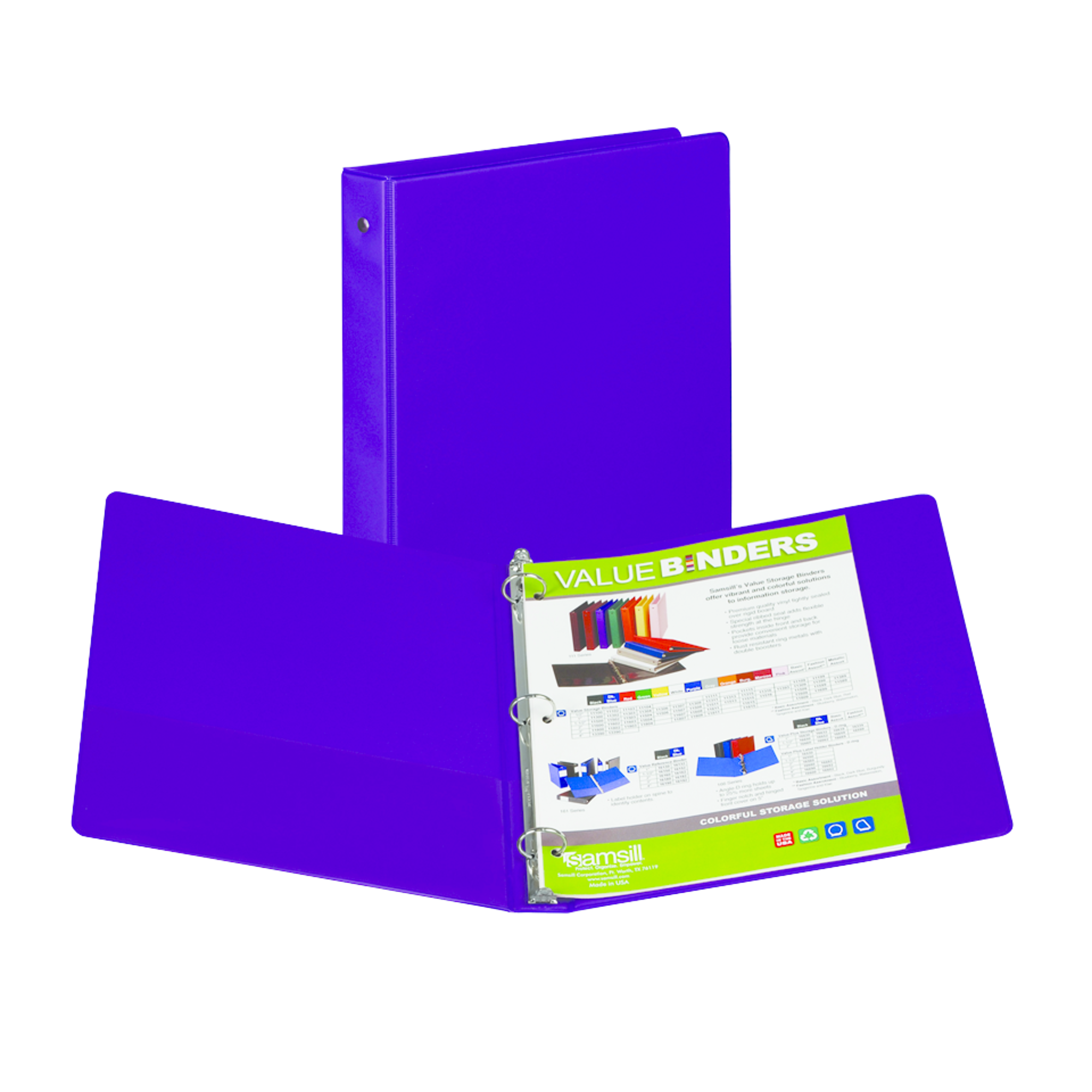 image of: Samsill Value Storage Pocket Binder - Purple 1in