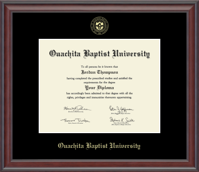 image of: Gold Embossed Diploma Frame in Studio with Black Mat