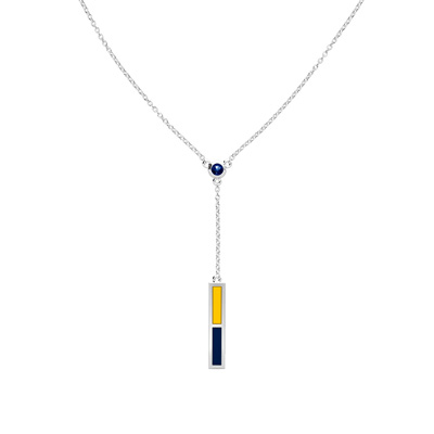 Sapphire Drop Necklace in Blue and Yellow