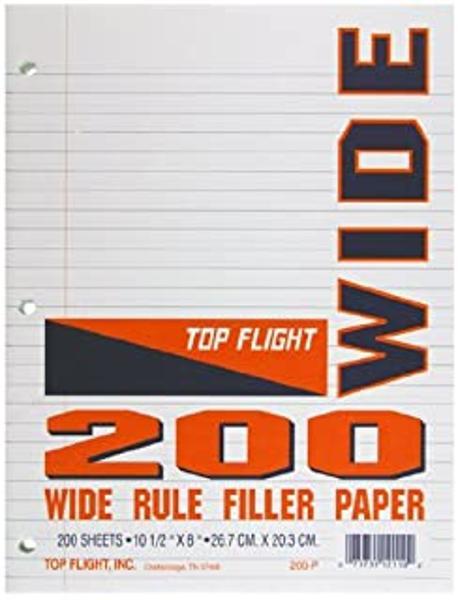 WIDE RULE FILLER PAPER 200SHTS
