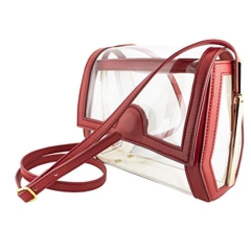 Geo Crossbody- Red Clear Bag