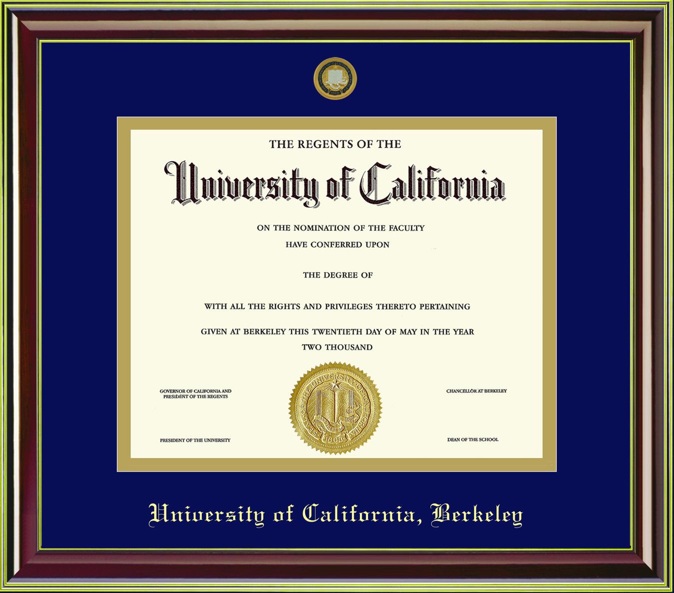 Diploma Frame Mahogany Gold Moulding