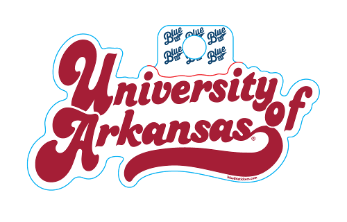 "Blue 84 Huffed Font ""University of Arkansas"" Sticker"