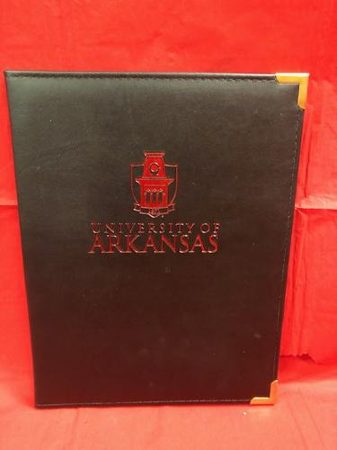 University of Arkansas Samsill Branded Padfolio with Old Main Logo - Black