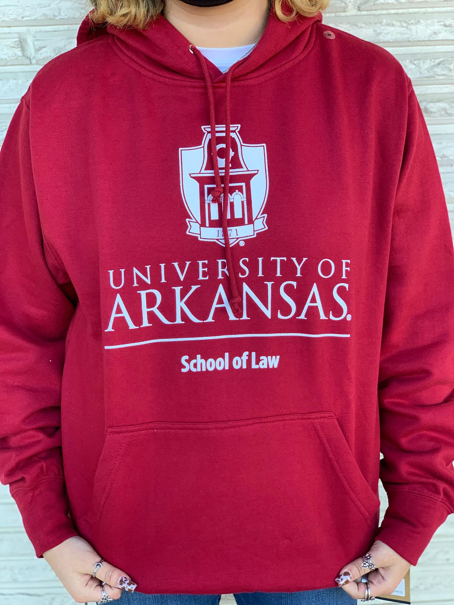 image of: University of Arkansas School of Law Tower Hoodie Crimson