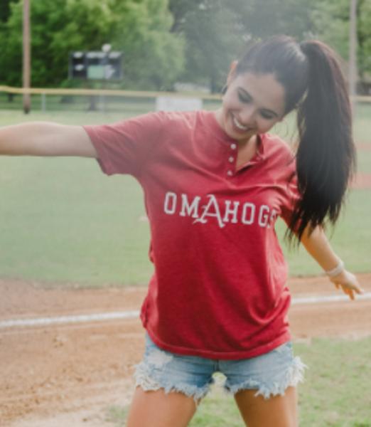 Arkansas Razorbacks Baseball Omahogs Henley Short Sleeve Tee