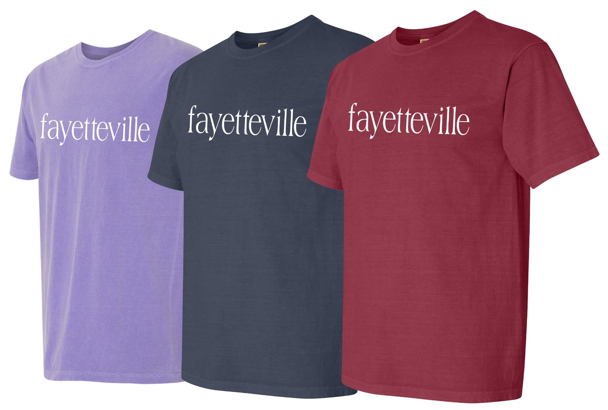 image of: Fayetteville Arkansas Comfort Color Short Sleeve Tee