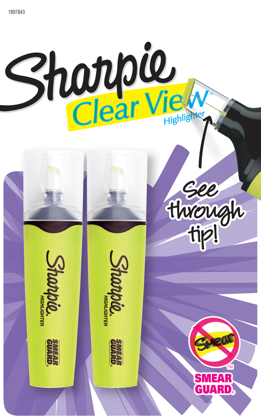 image of: Sharpie Clear View Tank Style Highlighter - Yellow Chisel 2Pk