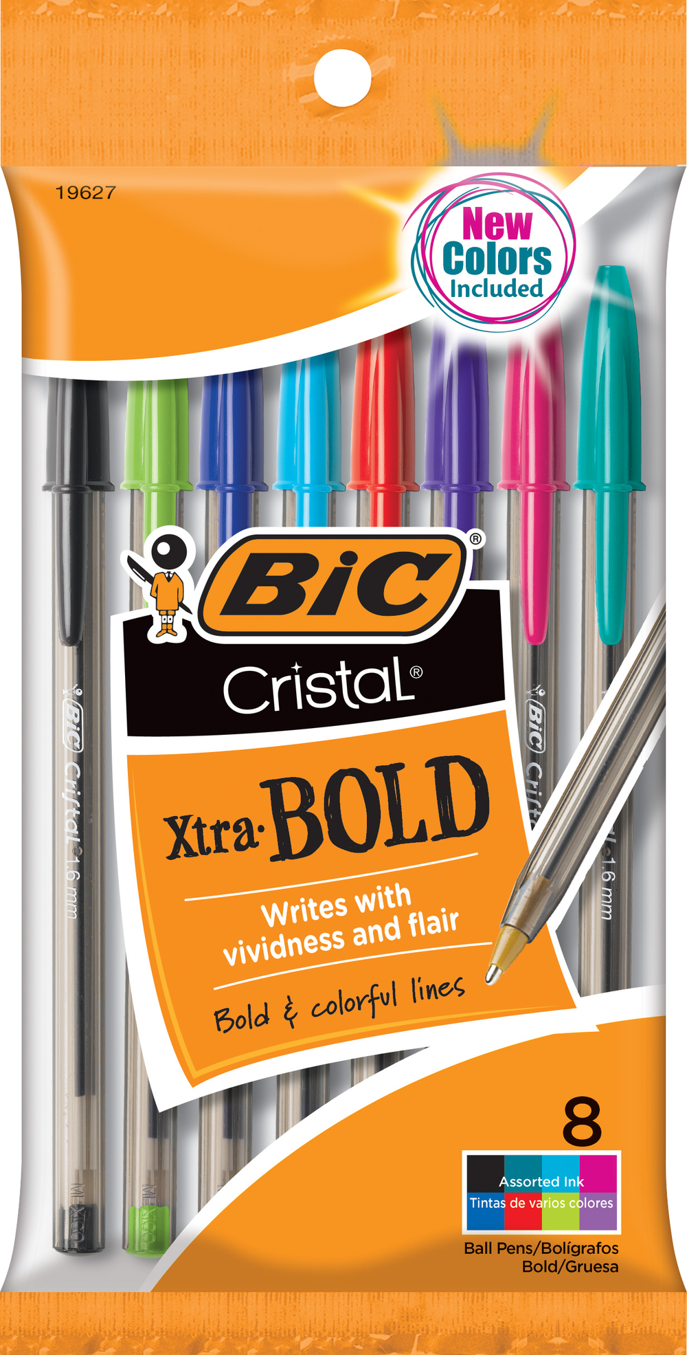 Cristal Xtra Bold Ballpoint Pen 1.6mm Fashion 8 Pk BP
