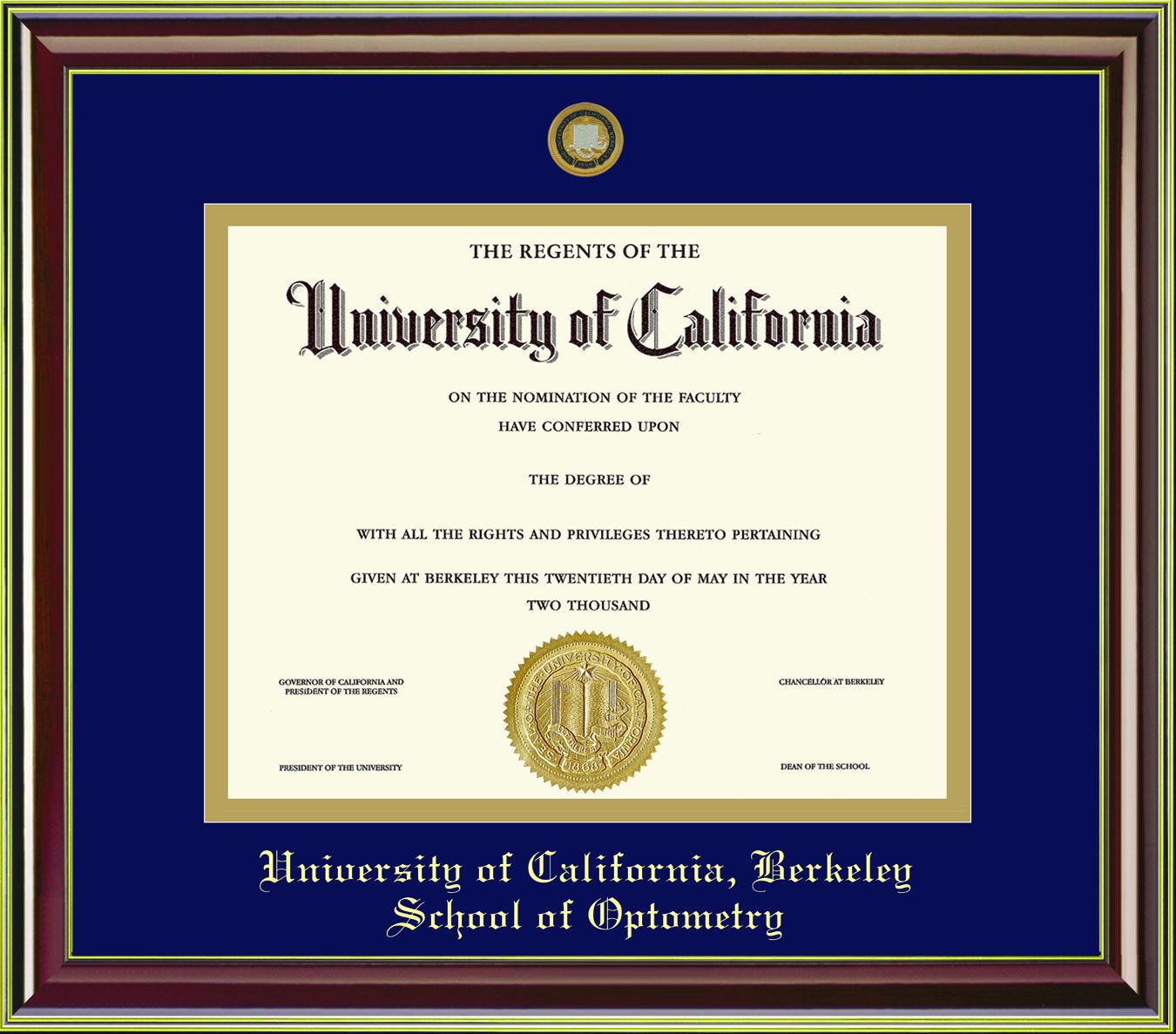 Diploma Frame Mahogany Gold 11x14 School of Optometry