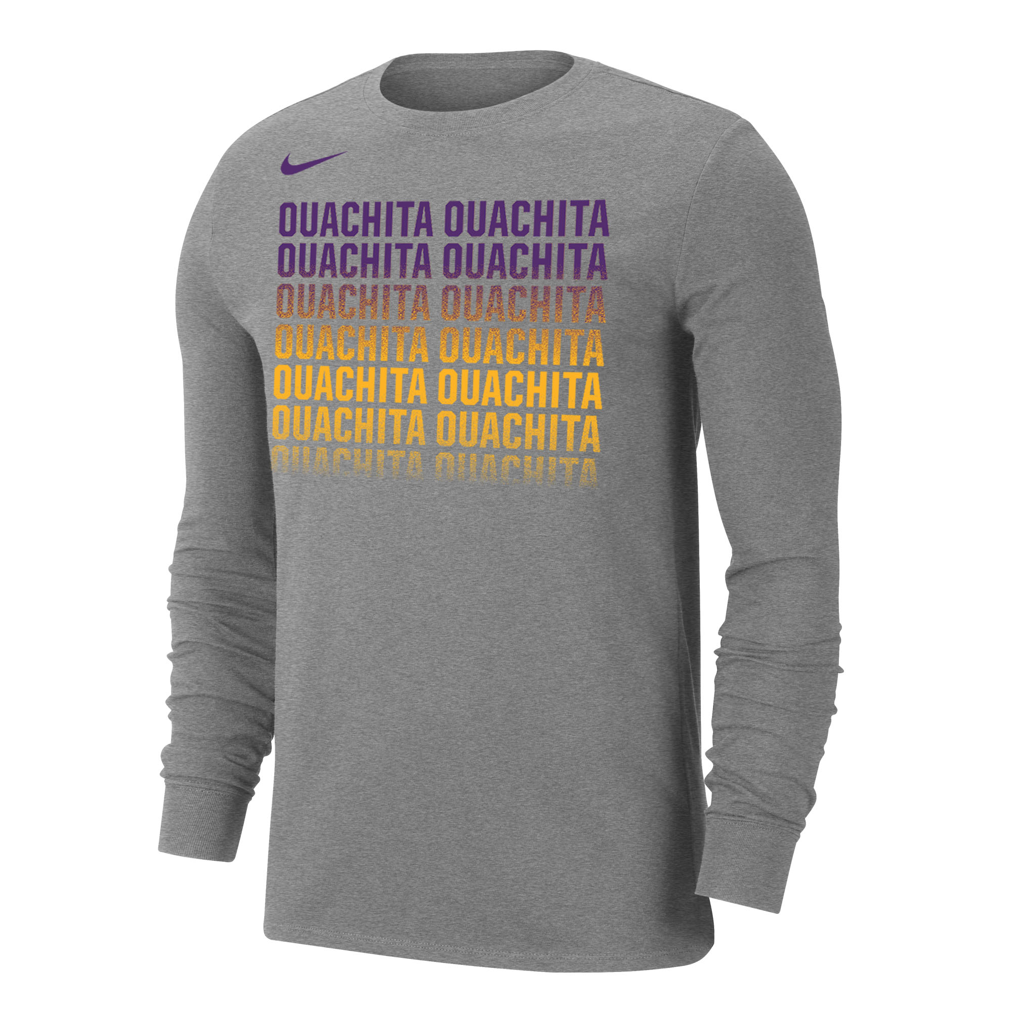 image of: OUACHITA NIKE DRI-FIT LS OMBRE TEE