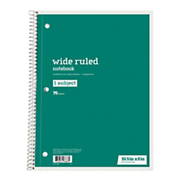 """Just Basics® Spiral Notebook #2, 7-1/2"""" x 10-1/2"""", Wide Ruled, 140 Pages (70 Sheets), Green"""