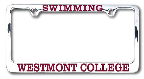 Westmont Swimming Chrome License Plate Frame