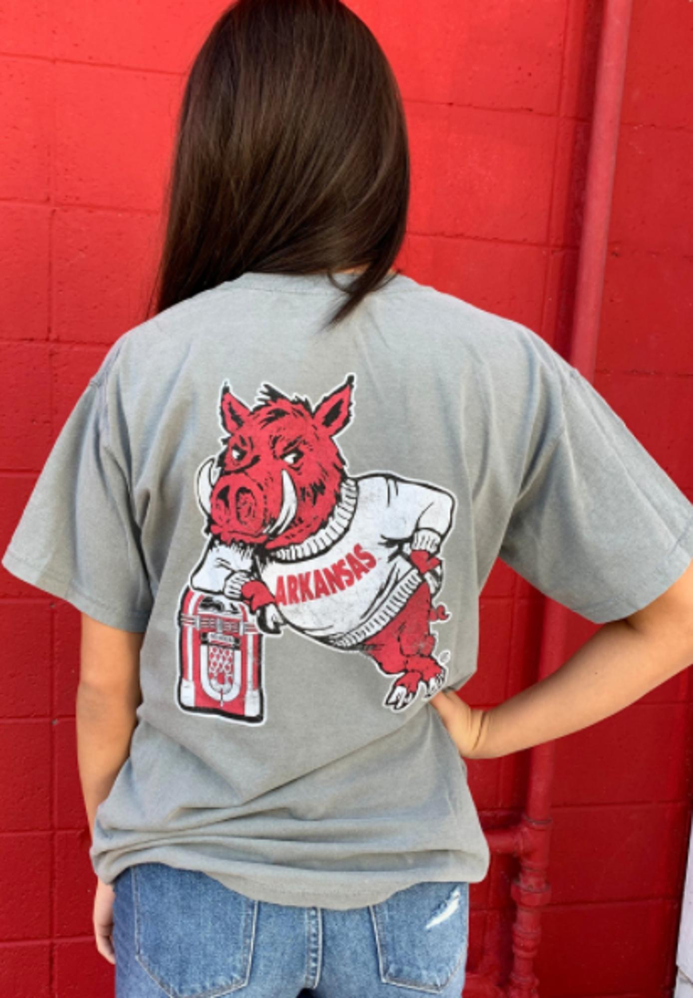 image of: Arkansas Razorbacks Comfort Color Hog Leaning on Jukebox Tee- Grey