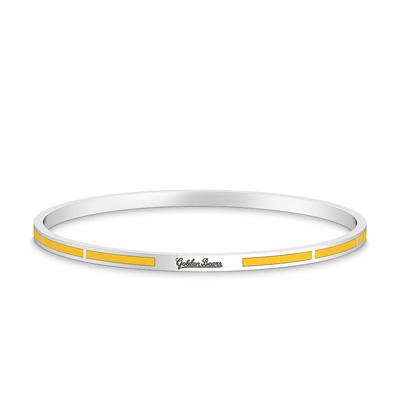 Detailed image of Golden Bears Engraved Enamel Bracelet in Yellow