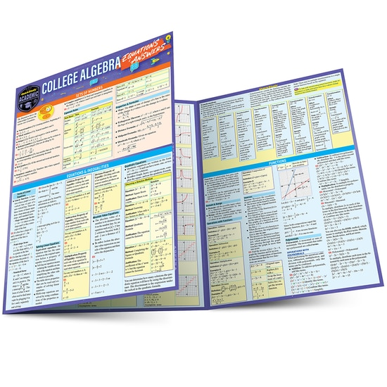 COLLEGE ALGEBRA EQUATIONS+ANSWERS LAMINATED STUDY GUIDE