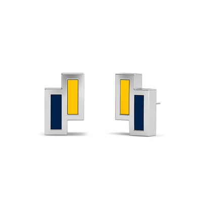 Detailed image of Asymmetric Enamel Stud Earrings in Blue and Yellow