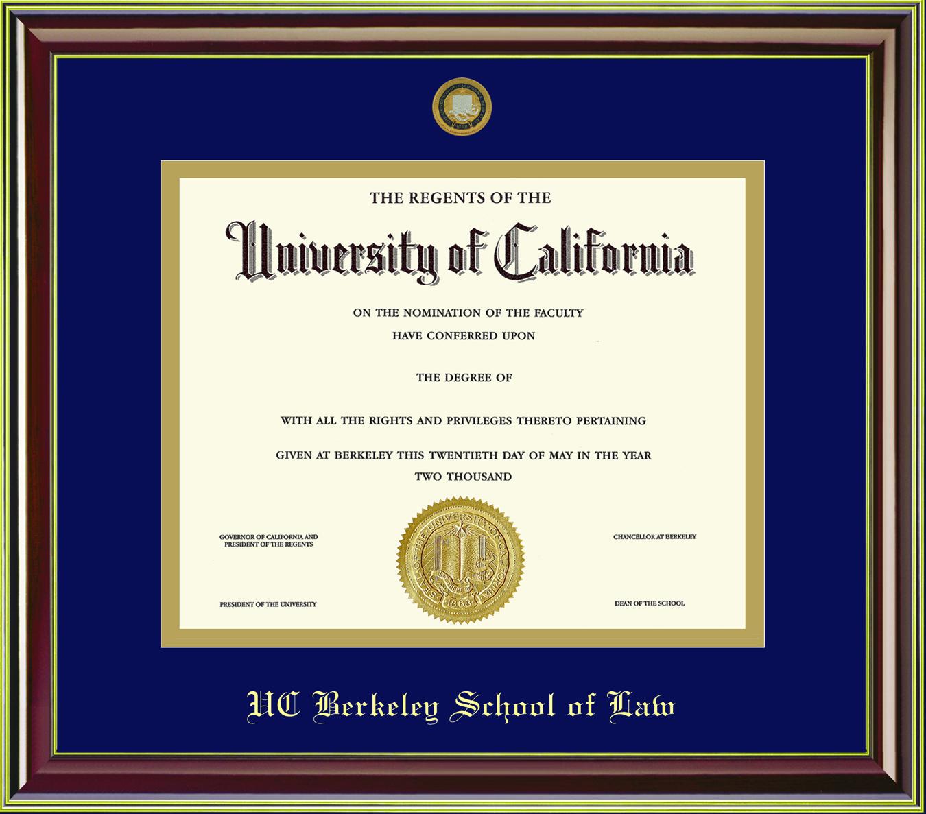Diploma Frame Mahogany Gold 11x14 School of Law