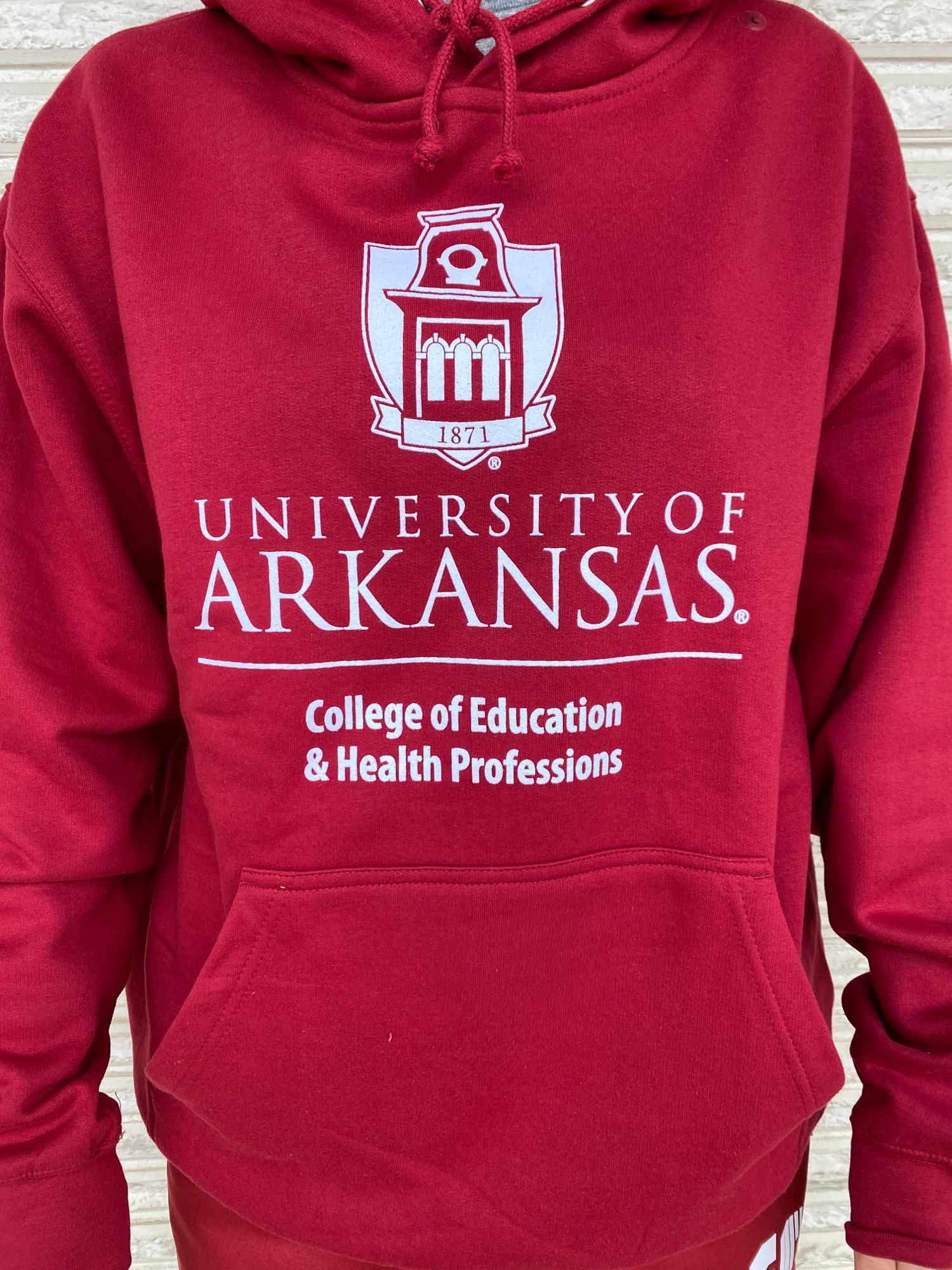 image of: University of Arkansas College of Education Tower Hoodie - Crimson