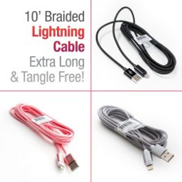 10′ BRAIDED LIGHTNING COMPATIBLE CABLE – EXTRA LONG