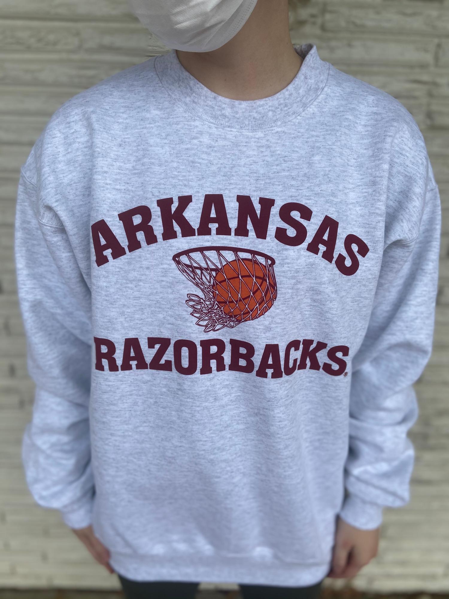 image of: Arkansas Razorbacks Nothin' But Net Crew Sweatshirt - Ash