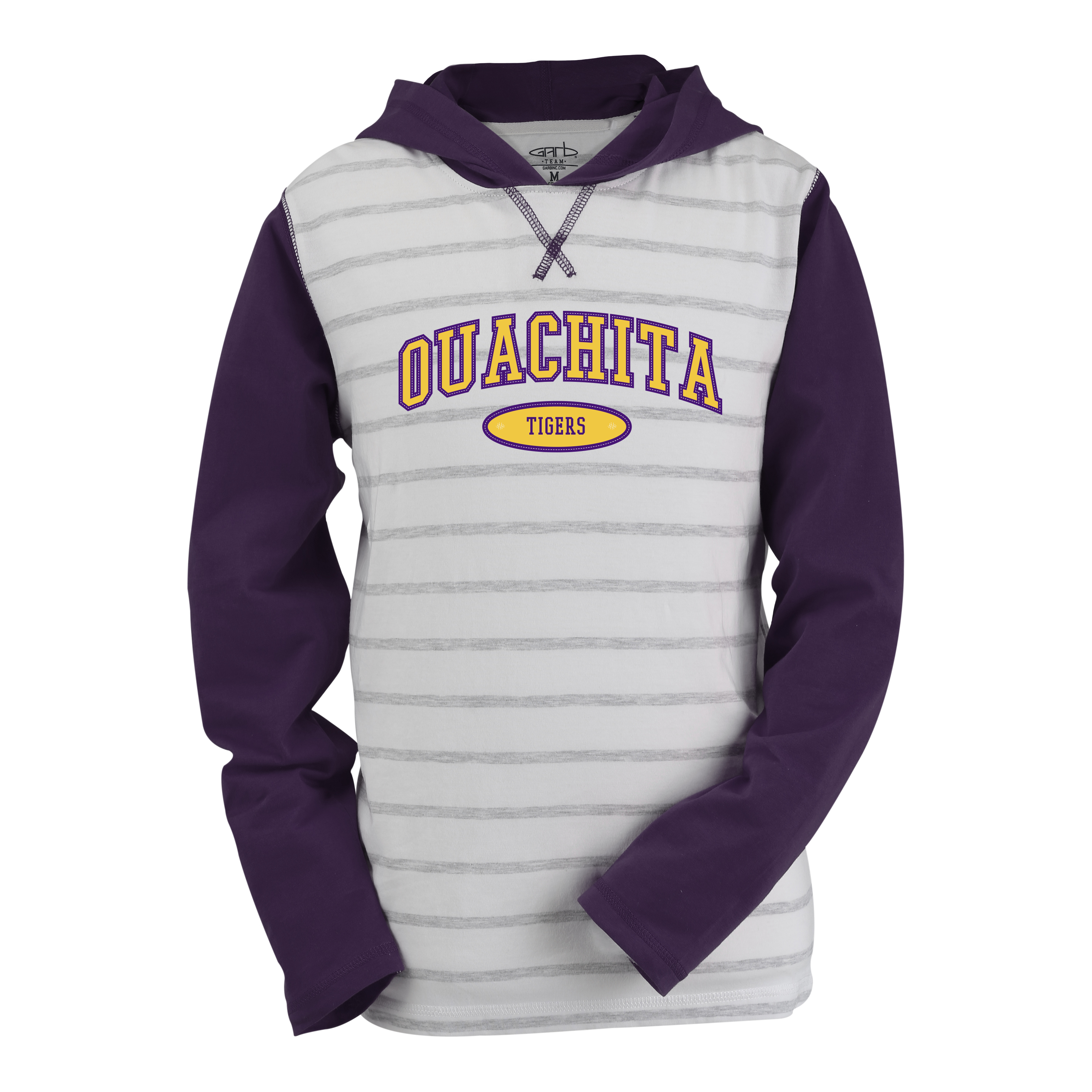 OUACHITA TIGERS COURT STRIPE HOODED PULLOVER - YOUTH