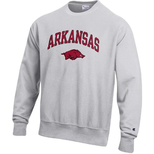 Arkansas Razorbacks Champion Reverse Weave Crew- Silver Grey