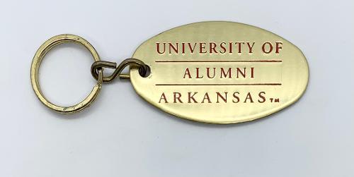 Arkansas Razorbacks Alumni Brass Key Ring