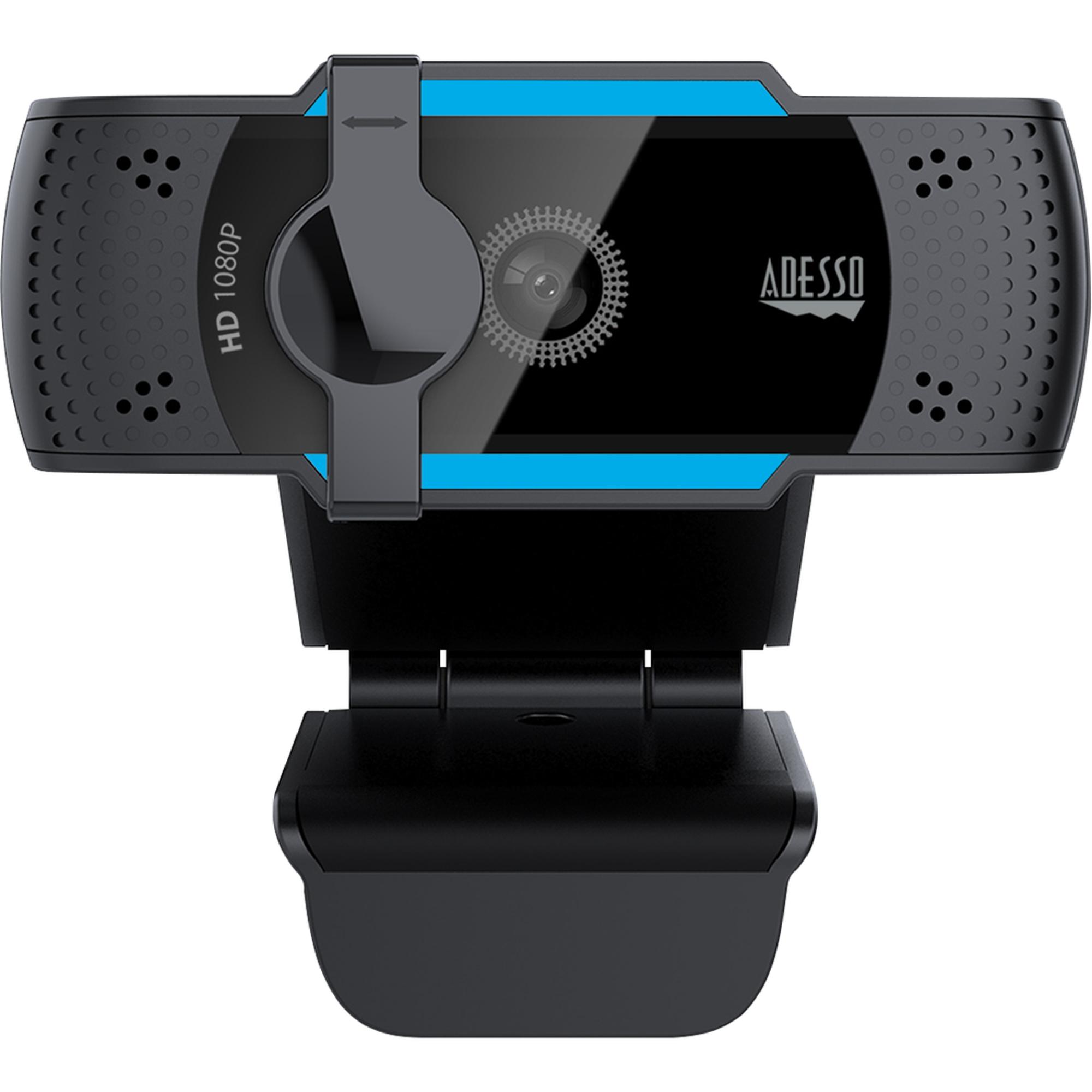 image of: Adesso 1080P HD Webcam w-Built-in Dual Mic Tripod Mnt Privcy Shttr Cvr - Black 2.7X2.7X1.97in 1Ct Box Noise Cancelling