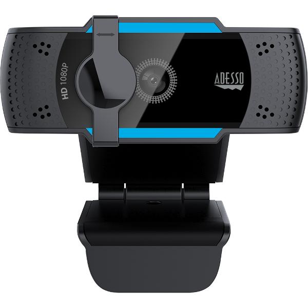 Adesso 1080P HD Webcam w-Built-in Dual Mic Tripod Mnt Privcy Shttr Cvr - Black 2.7X2.7X1.97in 1Ct Box Noise Cancelling