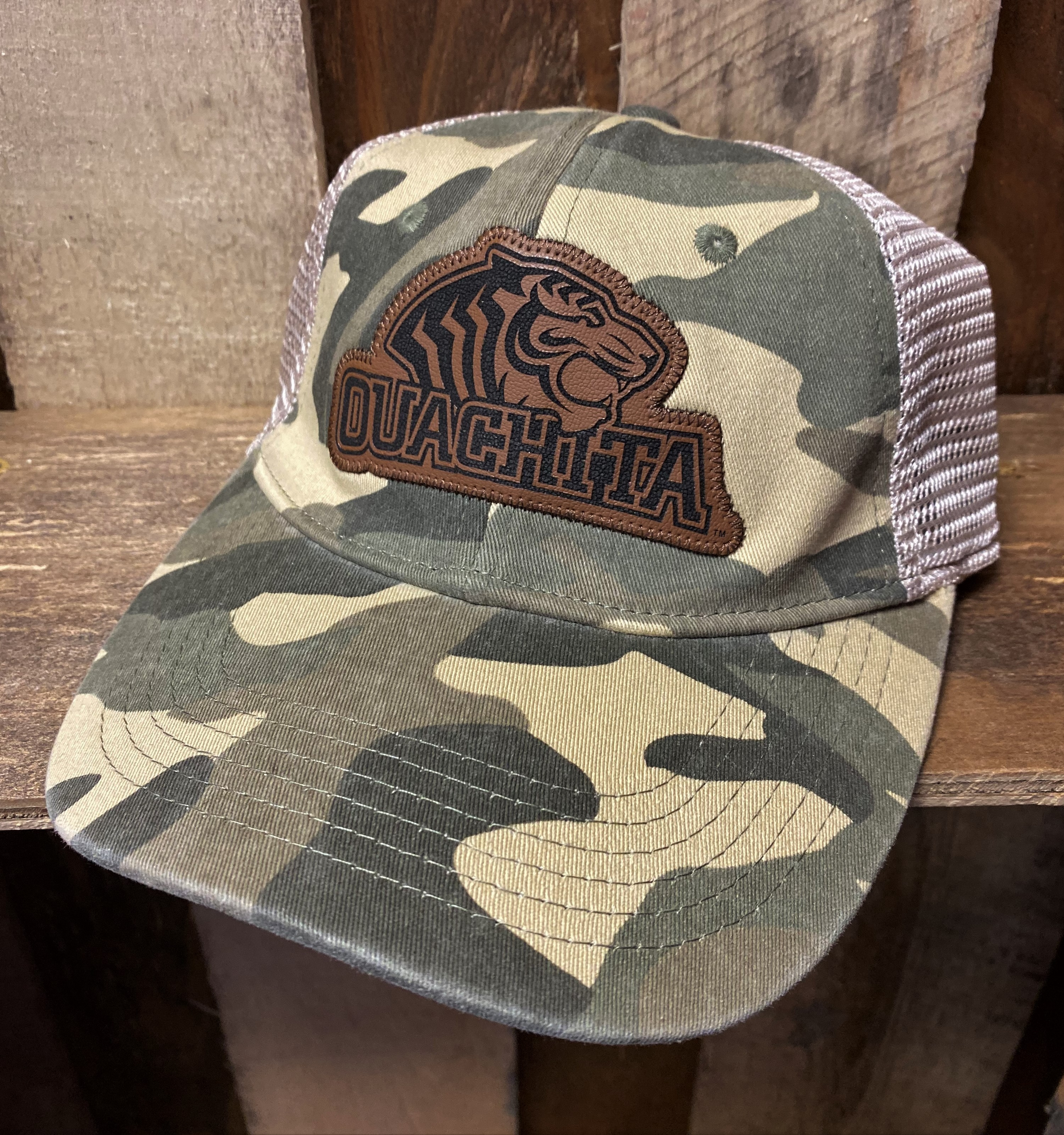 OUACHITA LEATHER MASCOT LO-PRO WASHED CAMO TRUCKER HAT